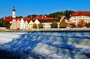 view over Lech river towards Landsberg oldtown, Upper Bavaria, Germany, Europe