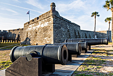 Cannons along the wall of Castillo de San Marcos in St Augustine, Florida St Augustine is the oldest city in America