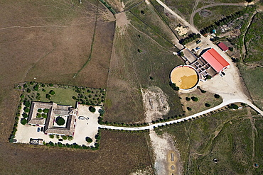 Typical south of Spain farm with training bullfighting small plaza.