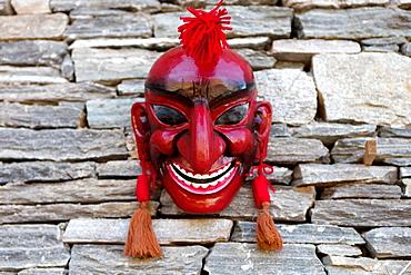 Astara the divine jester, Bhutanese Ceremonial Mask, Thimphu, Bhutan, Asia.