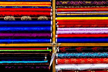 Woven fabrics for traditional dress of the Bhutanese people, Tailor shop Selphub Gyeltshen Tshongkhang, Thimphu, Bhutan, Asia.