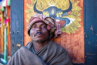 Man in a cafe of center town, Thimphu, Bhutan, Asia.