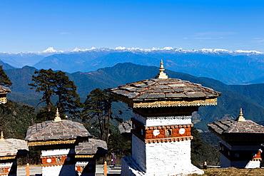 Druk Wangyal Chortens at Dochula on Thimphu-Punakha road, Bhutan, Asia.