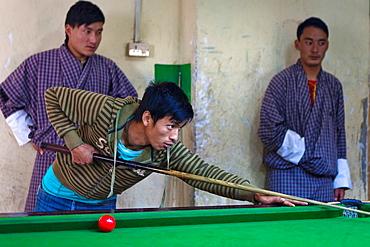 Pool bar in old town Punakha, Bhutan, Asia.