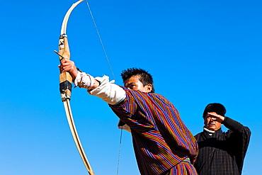Archery, Bhutan's national sport, Bumthang, Bhutan, Asia.