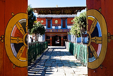 Entrance of Jampa Lhakhang Temple, Jakar, Bumthang, Bhutan, Asia.