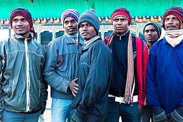 Workers in Chamkhar Town, Bumthang, Bhutan, Asia.
