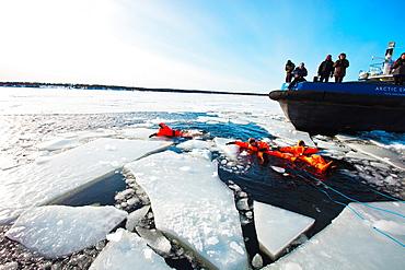 Tourist trip Artic Explorer Icebreaker Icebreaking adventrure Pite Havsbad Pitea Near Skelleftea Sweden.