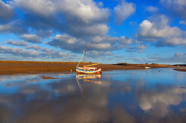 Burnham Overy Staith Norfolk fishing boat on winter morning