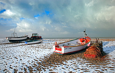 Cley Beach Norfolk in Winter snow