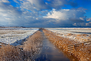 Creek and grazing marshes Norfolk in Winter snow