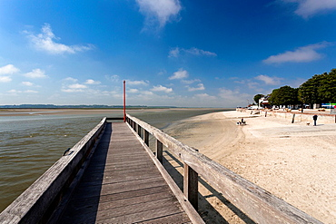 France, Picardy Region, Somme Department, Le Crotoy, Somme Bay resort town, town pier
