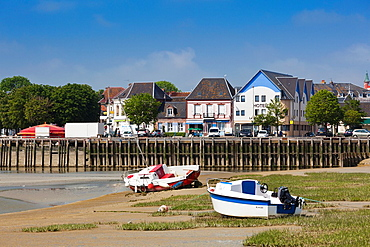 France, Picardy Region, Somme Department, Le Crotoy, Somme Bay resort town, town marina view