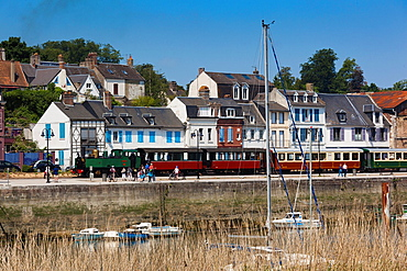 France, Picardy Region, Somme Department, St-Valery sur Somme, Somme Bay Resort town, town view with tourist train