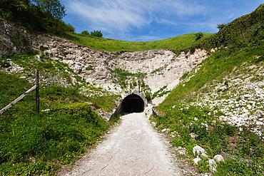 France, Nord-Pas de Calais Region, Pas de Calais Department, Mimoyecques, Fortresse de Mimoyecques, World War Two German HDP / V3 super-gun bunker, bunker entrance