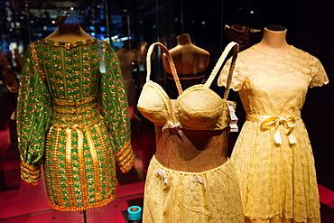 France, Nord-Pas de Calais Region, Pas de Calais Department, Calais, Musee de la Dentelle et de la Mode, museum of lace and fashion, lace womens garments from the 1960s-era