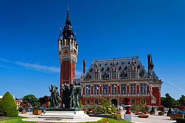 France, Nord-Pas de Calais Region, Pas de Calais Department, Calais, town hall and The Burghers of Calais sculpture by Rodin