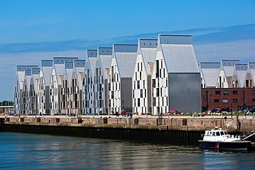 France, Nord-Pas de Calais Region, Nord Department, French Flanders Area, Dunkerque, port view with modern buildings along Quai de la Cunette