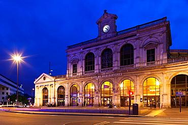France, Nord-Pas de Calais Region, Nord Department, French Flanders Area, Lille, Gare Lille-Flandres train station, dusk