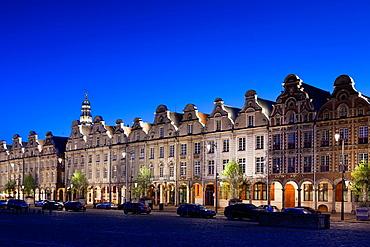 France, Nord-Pas de Calais Region, Pas de Calais Department, Arras, Grand Place buildings, dusk