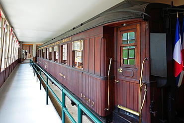 France, Picardy Region, Oise Department, Compiegne, Clairiere del Armistice, site of the signing of the World War One armistice, 1918, railway carriage used my French commander Marechal Foch