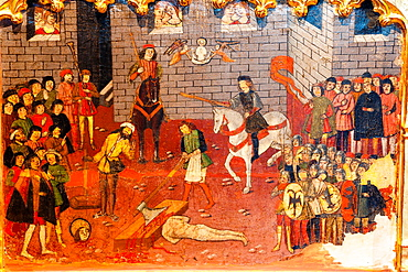 altarpiece of San Jorge, predella, Beheading Of Jorge, years 1468-1470, Nicard Pere, oil on wood, Palau Episcopal, -Diocesan Museum of Mallorca, medieval work began on thirteenth century, mallorca, Balearic Islands, Spain, Europe