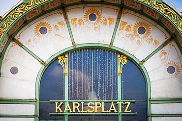 Otto Wagner's Stadtbahn Pavilion in Karlplatz, Vienna, Austria