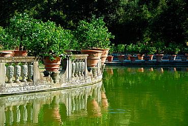 La Vasca dell'Isola Giardini di Boboli Florence, Tuscany, Italy, Europe.