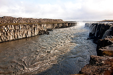 beautiful scenery at Dettifoss waterfall in Vatnajokull National Park, Iceland
