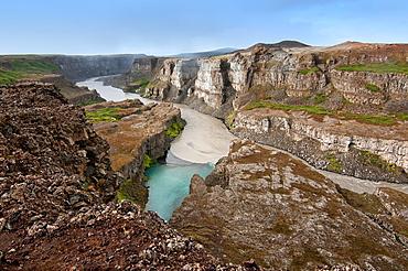 Hafragil falls and canyon at Dettifoss waterfall in Vatnajokull National Park, Iceland