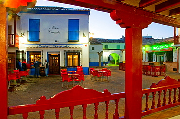 Typical tavern viewed from the Main Square, night view. Puerto Lapice, Ciudad Real province, Castilla La Mancha, Spain.