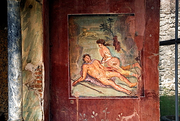fresco depicting Pyramus and Thisbe in the House of Loreius Tiburtinus also called the House of Octavius Quartio, archeological site of Pompeii, province of Naples, Campania region, southern Italy, Europe