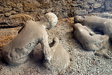plaster casts of victims still in situ, archeological site of Pompeii, province of Naples, Campania region, southern Italy, Europe