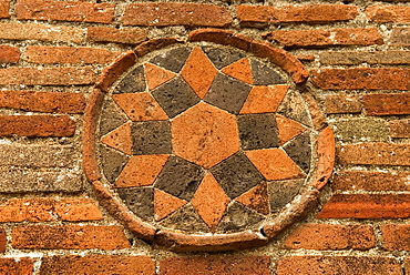 symbol on a wall of the archeological site of Pompeii, province of Naples, Campania region, southern Italy, Europe