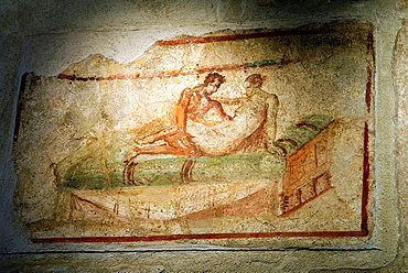 erotic painting inside the Lupanare, archeological site of Pompeii, province of Naples, Campania region, southern Italy, Europe