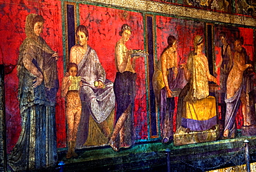 fresco inside the Villa of the Mysteries, archeological site of Pompeii, province of Naples, Campania region, southern Italy, Europe