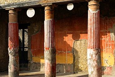 Casa del Rilievo di Telefo, House of the Relief of Telephus, archeological site of Herculaneum, Pompeii, province of Naples, Campania region, southern Italy, Europe