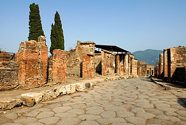Via Consolare, archeological site of Pompeii, province of Naples, Campania region, southern Italy, Europe