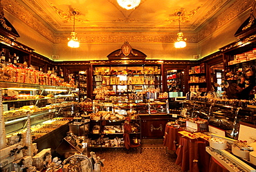 chocolate and sweet shop adjoining the historic cafe Platti, Turin, Piedmont region, Italy, Europe