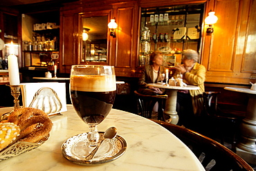 Bicerin is a traditional hot drink native to Turin made of espresso, drinking chocolate and whole milk, Al Bicerin cafe, Turin, Piedmont region, Italy, Europe