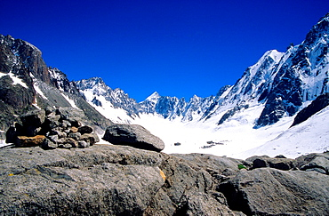 The Argentiere glacier, Mont Blanc mountain massif, Savoy Alps, France