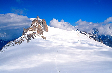 View of Aiguille du Midi, Mont Blanc mountain massif, Savoy Alps, France