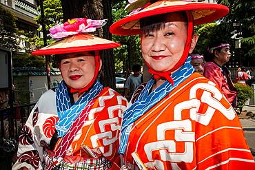 Parade participants, during Sanja Matsuri Festival, Sensoji Temple, Asakusa Jinja, Asakusa, Tokyo, Japan, Asia