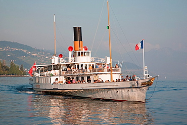 La Suisse Paddle Steamer in Ouchy, Lausanne, Lake Geneva, Switzerland, Europe