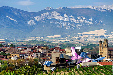 El Ciego panoramic views with Marques de Riscal winery, La Rioja, Spain