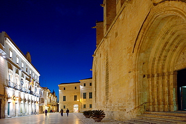 Cathedral Square at night, Ciutadella, Menorca, Spain, Europe