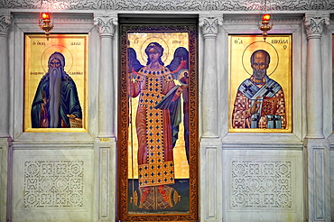 Icons in the 4th century AD Church of Saint Demetrius, or Hagios Demetrios,      , a Palaeochristian and Byzantine Monuments of Thessaloniki, Greece A UNESCO World Heritage Site