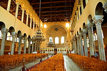 The 5th-century 3 aisled Byzantine Basilica of the Acheiropoietos,      , with its rare simple Iconoclastic cross above the altar a Palaeochristian and Byzantine Monuments of Thessaloniki, Greece A UNESCO World Heritage Site