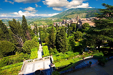 View of the Renaissance gardens of Villa d'Este, Tivoli, Italy
