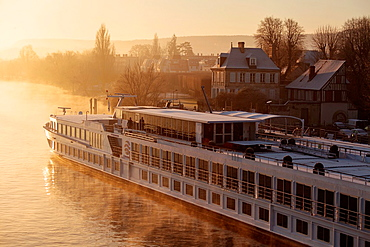 The River Baroness, 110m river cruiser moored on the River Seine at Vernon, Eure, France